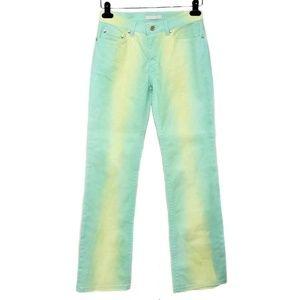 Roberto Cavalli Green Gradient Ombre Bootcut Jeans